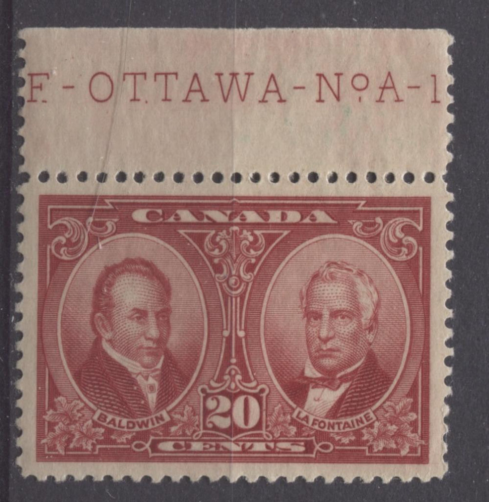 Canada #148 (SG#273) 20c Carmine Red La Fontaine & Baldwin 1927 Historical Issue VF-84 OG Brixton Chrome