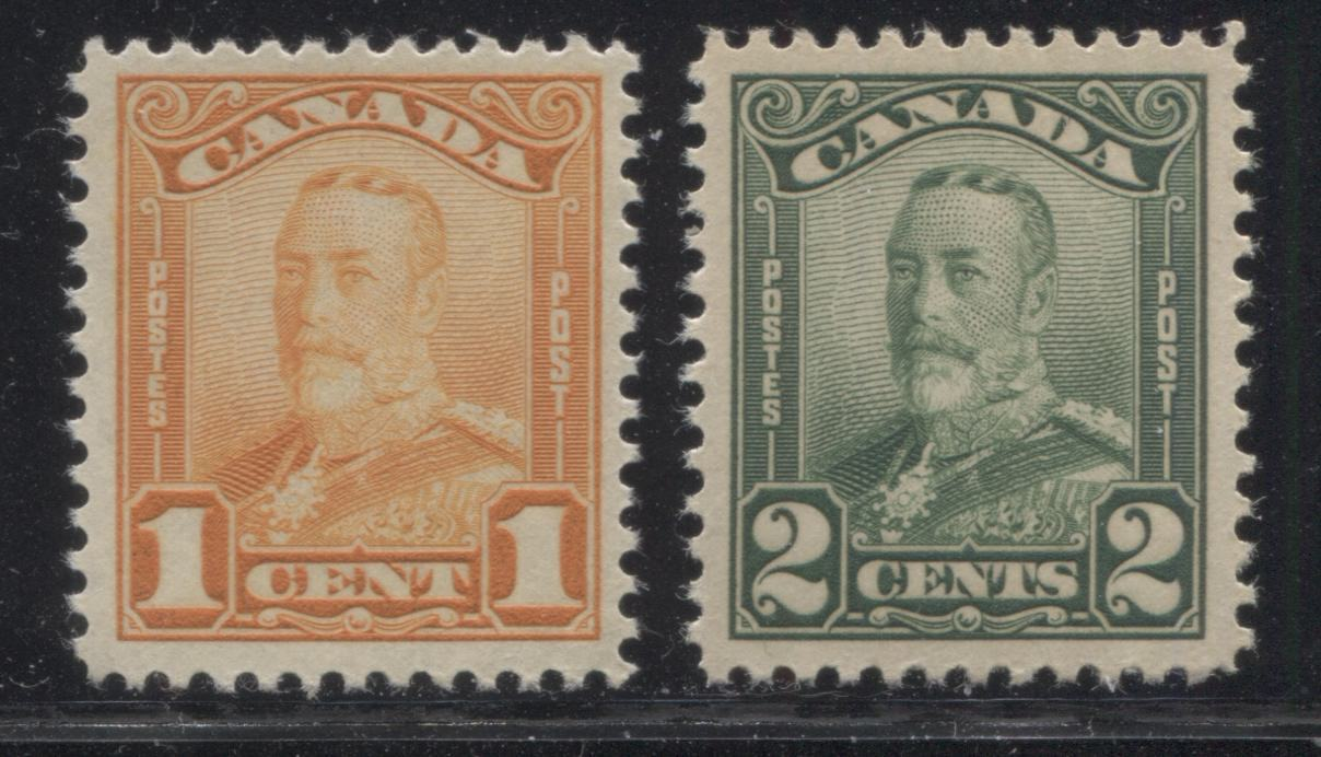 Canada #149-150 1c Orange & 2c Deep Yellowish Green King George V, 1928-1929 Scroll Issue, Very Fine NH Mint Singles Brixton Chrome