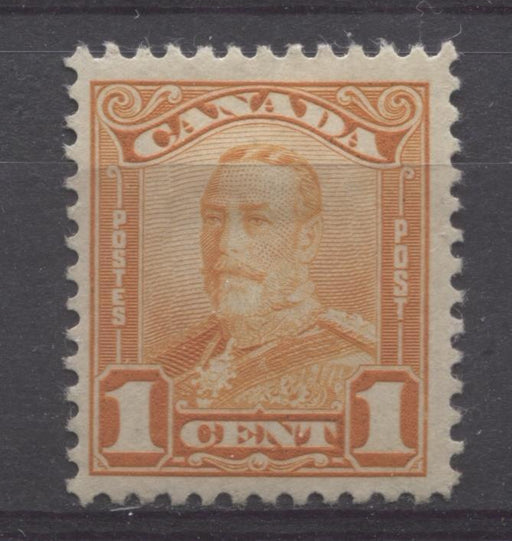 Canada #149 (SG#275) 1c Bright Orange King George V 1928 Scroll Issue Paper With No Mesh VF-75 OG HR Brixton Chrome