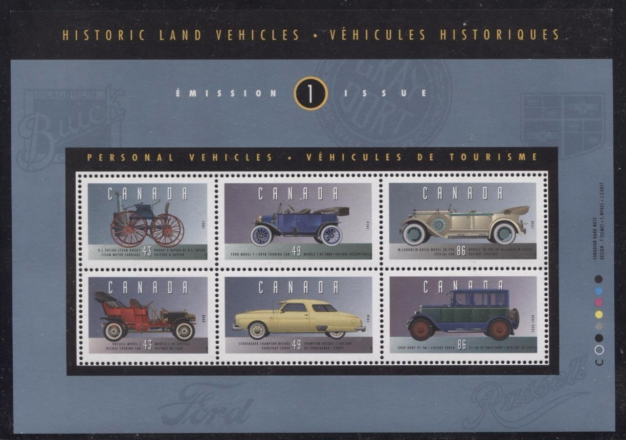 Canada #1490 (SG#MS1563) $3.56 1993 Historic Vehicles Souvenir Sheet DF/DF BW Paper VF-75 NH Brixton Chrome