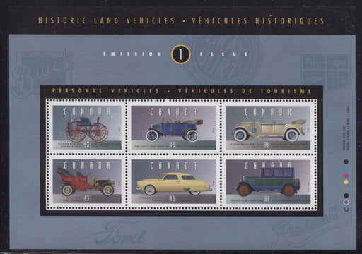 Canada #1490 (SG#MS1563) $3.56 1993 Historic Vehicles Souvenir Sheet DF/DF BW Paper VF-80 NH Brixton Chrome