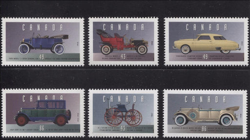 Canada #1490a-f (SG#MS1563) $3.56 1993 Historic Vehicles Complete Set of Singles From the Souvenir Sheet DF/DF BW Paper VF-84 NH Brixton Chrome