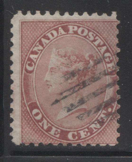 Canada #14b 1c Deep Rose Queen Victoria, 1859-1867 First Cents Issue, Good Used Single on Stout Wove, Perf. 11.75, Brixton Chrome