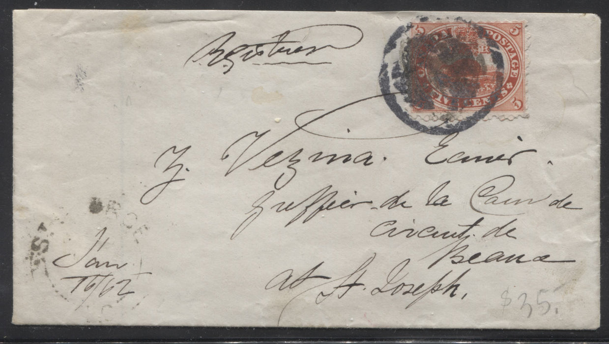Canada #15 5c Vermilion Beaver, 1859-1867 First Cents Issue Single Usage on January 16, 1862 Cover To St. Joseph Brixton Chrome