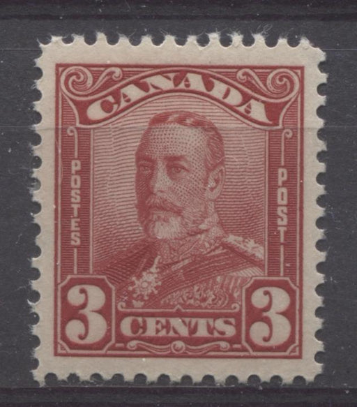 Canada #151 (SG#277) 3c Carmine Red King George V 1928 Scroll Issue VF-80 LH Brixton Chrome