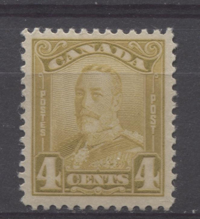 Canada #152 (SG#278) 4c Deep Yellowish Olive Bistre King George V 1928 Scroll Issue VF-80 LH Brixton Chrome