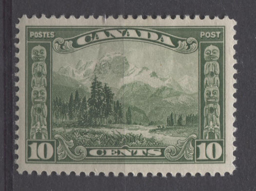 Canada #155 (SG#281) 10c Deep Yellow Green Mt. Hurd 1928 Scroll Issue VF-80-J OG Brixton Chrome