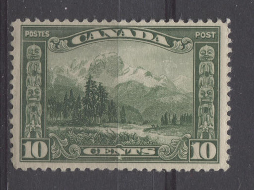 Canada #155 (SG#281) 10c Deep Yellowish Green Mt. Hurd 1928 Scroll Issue Fine Mesh Paper F-65 NH Brixton Chrome