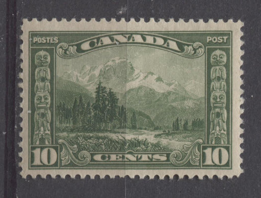 Canada #155 (SG#281) 10c Deep Yellowish Green Mt. Hurd 1928 Scroll Issue Paper With No Mesh VF-75-J OG Brixton Chrome