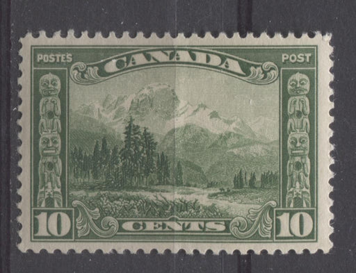 Canada #155 (SG#281) 10c Deep Yellowish Green Mt. Hurd 1928 Scroll Issue Paper With No Mesh VF-80 OGHR Brixton Chrome
