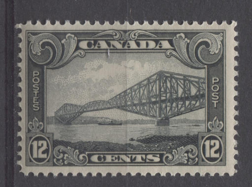 Canada #156 (SG#282) 12c Greenish Black Quebec Bridge 1928 Scroll Issue VF-75 NH Brixton Chrome