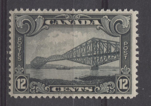 Canada #156 (SG#282) 12c Greenish Black Quebec Bridge 1928 Scroll Issue VF-80 NH Brixton Chrome