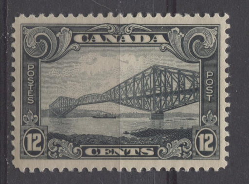 Canada #156 (SG#282) 12c Greenish Black Quebec Bridge 1928 Scroll Issue VF-80 OG Brixton Chrome