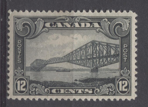 Canada #156 (SG#282) 12c Slate Quebec Bridge 1928 Scroll Issue VF-80 OG Brixton Chrome