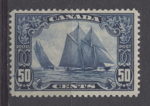 Canada #158 (SG#284) 50c Deep Blue The Bluenose 1928 Scroll Issue Frame Flaw VF-75 NH Brixton Chrome