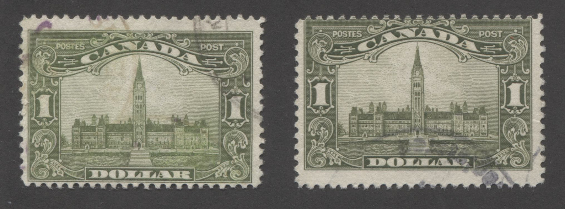 Canada #159 $1 Olive Green and Sage Green, King George V 1928-1929 Scroll Issue Fine and VG Used Examples of Two Shades Brixton Chrome