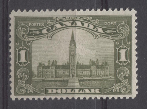 Canada #159 (SG#285) $1 Deep Olive Green Parliament Buildings 1928 Scroll Issue VF-75 OG Brixton Chrome