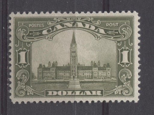 Canada #159 (SG#285) $1 Deep Olive Green Parliament Buildings 1928 Scroll Issue VF-80 LH Brixton Chrome