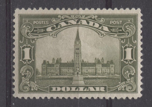 Canada #159 (SG#285) $1 Deep Olive Green Parliament Buildings 1928 Scroll Issue VF-84 OG Brixton Chrome
