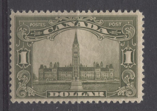 Canada #159 (SG#285) $1 Grey Olive Parliament Buildings 1928 Scroll Issue Fine Mesh Paper VF-77 OG Brixton Chrome