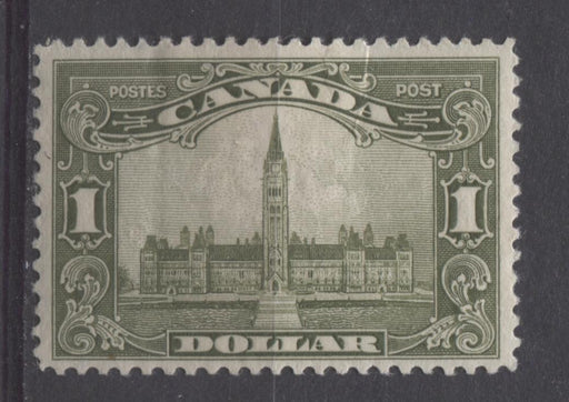 Canada #159 (SG#285) $1 Olive Green Parliament Buildings 1928 Scroll Issue Fine Mesh Paper F-70 DG Brixton Chrome
