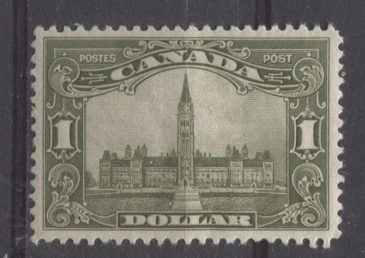 Canada #159 (SG#285) $1 Olive Green Parliament Buildings 1928 Scroll Issue Fine Mesh Paper VF-76 OG Brixton Chrome