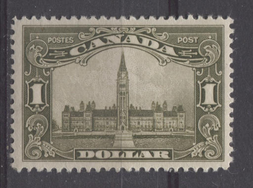 Canada #159iii (SG#285) $1 Brown Olive Parliament Buildings 1928 Scroll Issue VF-75 OG Brixton Chrome