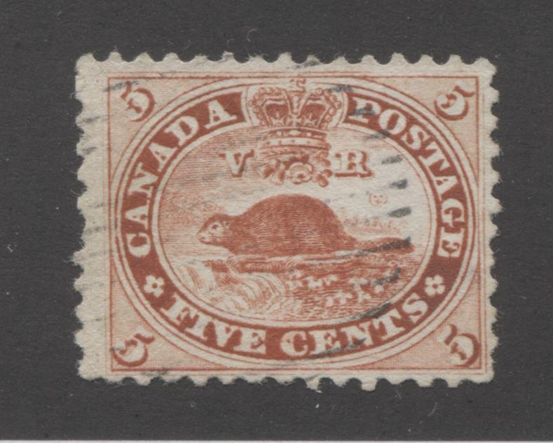 Canada #15c 5c Brick Red Beaver, 1859-1867 First Cents Issue, Very Good Used Single, Perf. 11.75 x 12, Brixton Chrome