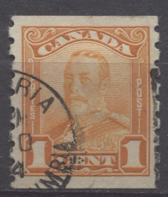 Canada #160 (SG#286) 1c Orange King George V 1928 Scroll Issue Perf 8 Vertical VF-79 Used Brixton Chrome