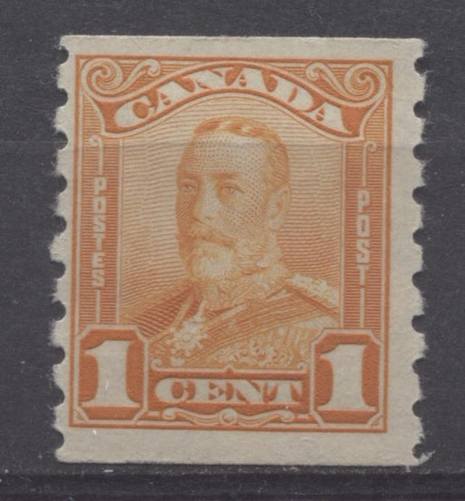 Canada #160 (SG#286) 1c Reddish Orange King George V 1928 Scroll Issue Coil Paper With No Mesh F-70 OG Brixton Chrome