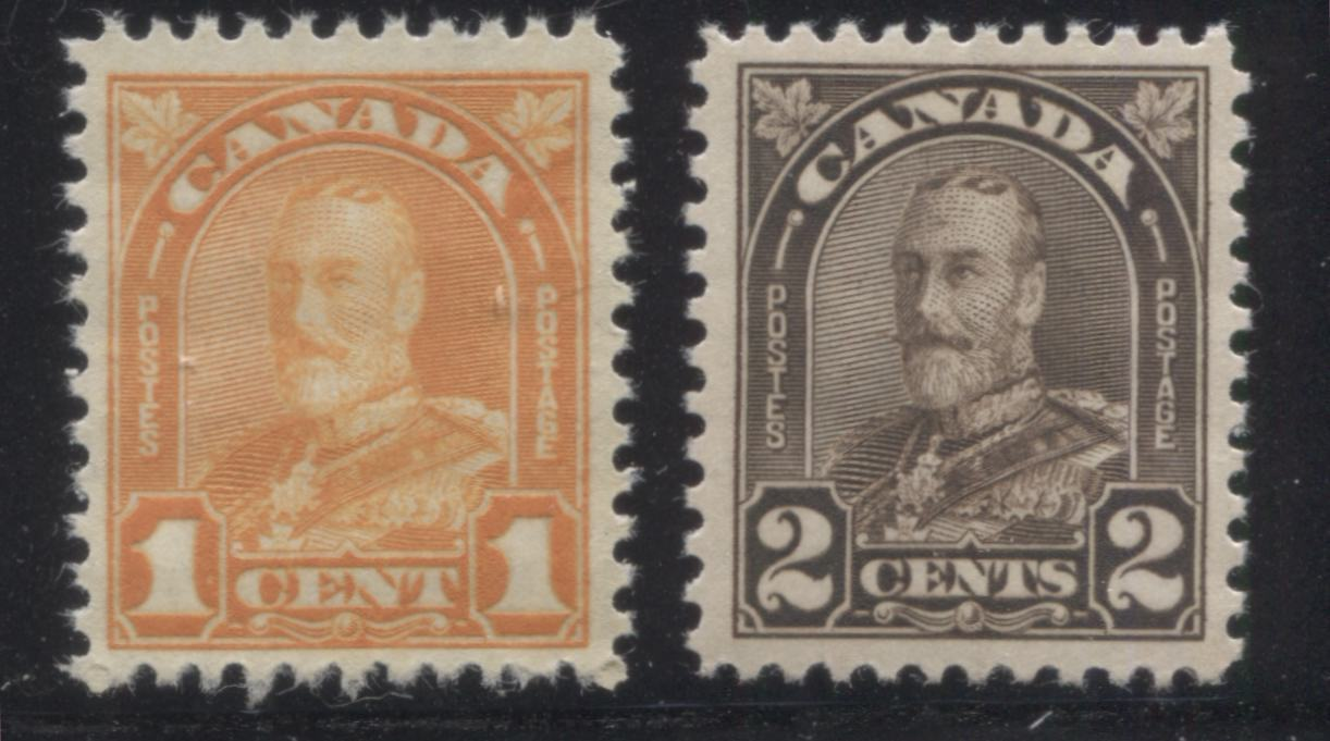 Canada #162, 166 1c Orange & 2c Blackish Brown King George V, 1930-1935 Arch Issue, Two Very Fine NH Mint Singles Brixton Chrome