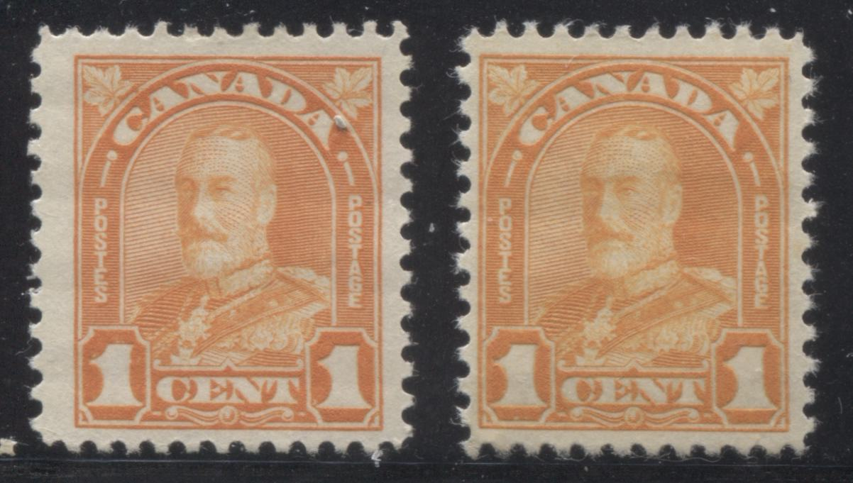 Canada #162 1c Orange King George V, 1930-1935 Arch Issue, Two Very Fine Mint OG Singles, Each a Different Shade Brixton Chrome