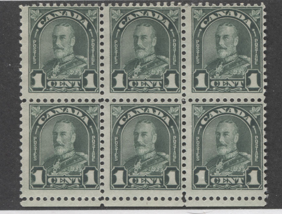 "Canada #163ii 1c Deep Green, King George V 1930-1935 Arch Issue Fine NH Block of 6 Showing the Major Re-Entry in ""1"" Brixton Chrome"