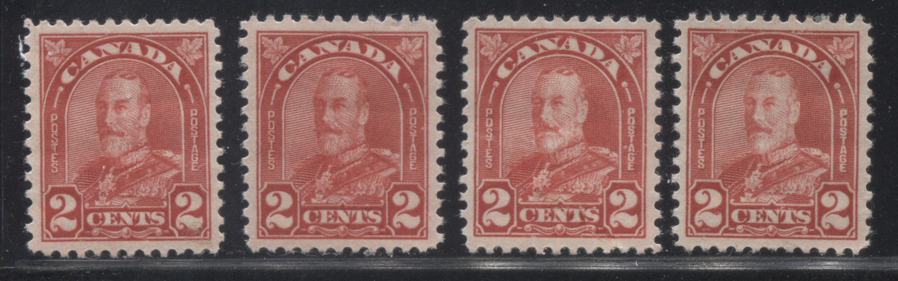 Canada #165-165a 2c Scarlet King George V, 1930-1935 Arch Issue, Four Very Fine Mint Singles, Two of Each Die Brixton Chrome