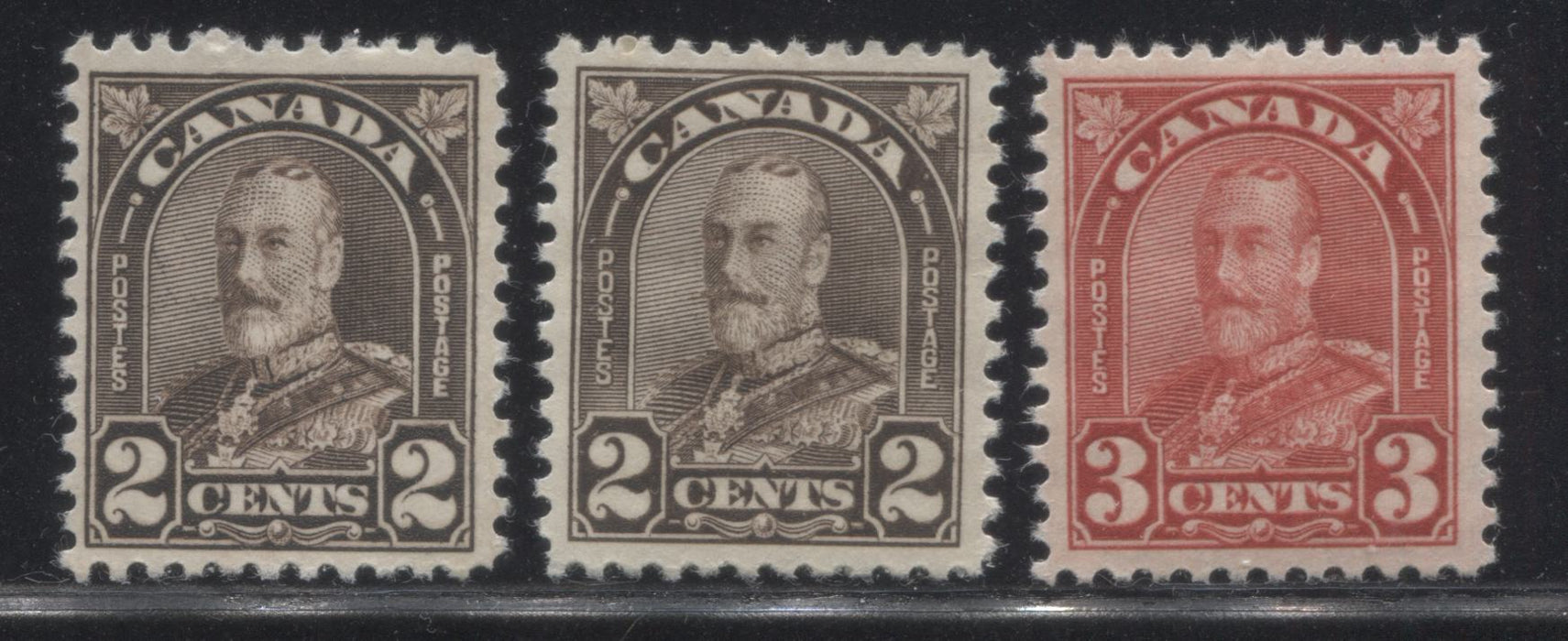 Canada #166-167 2c Blackish Brown & 3c Scarlet King George V, 1930-1935 Arch Issue, Three Very Fine Mint Singles, Including Both Dies of the 2c Blackish Brown Brixton Chrome