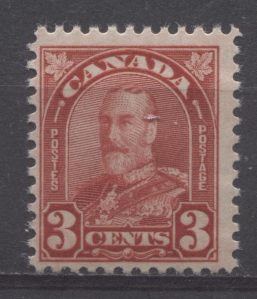 Canada #167 (SG#293) 3c Bright Scarlet King George V 1930-35 Arch Issue Cream Gum F-70 NH Brixton Chrome