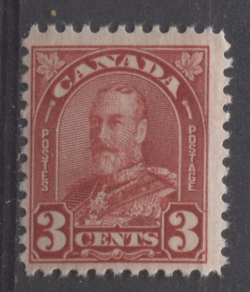 Canada #167 (SG#293) 3c Bright Scarlet King George V 1930-35 Arch Issue Cream Gum F-70 OG Brixton Chrome