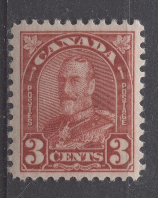 Canada #167 (SG#293) 3c Scarlet King George V 1930-35 Arch Issue Cream Gum VF-75 OG Brixton Chrome