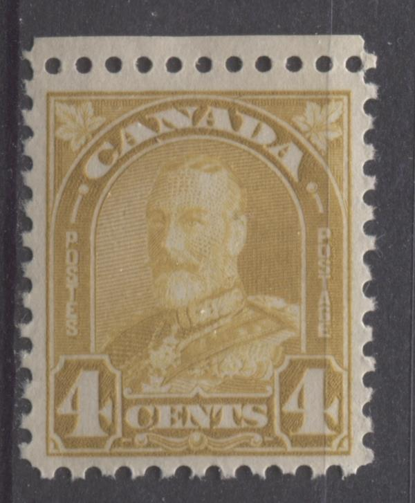 Canada #168 (SG#294) 4c Deep Golden Yellow King George V 1930-35 Arch Issue Cream Gum VF-75 OG Brixton Chrome