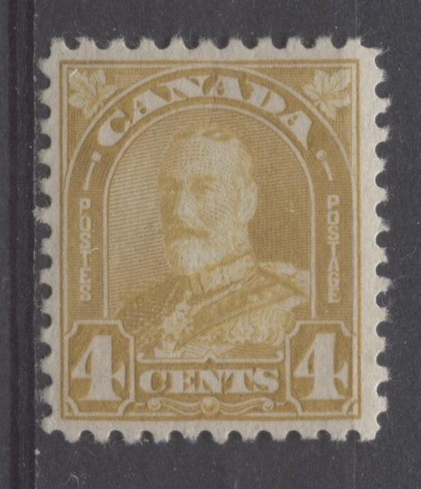Canada #168 (SG#294) 4c Pale Yellow Bistre King George V 1930-35 Arch Issue Deep Cream Gum VF-80 OG Brixton Chrome