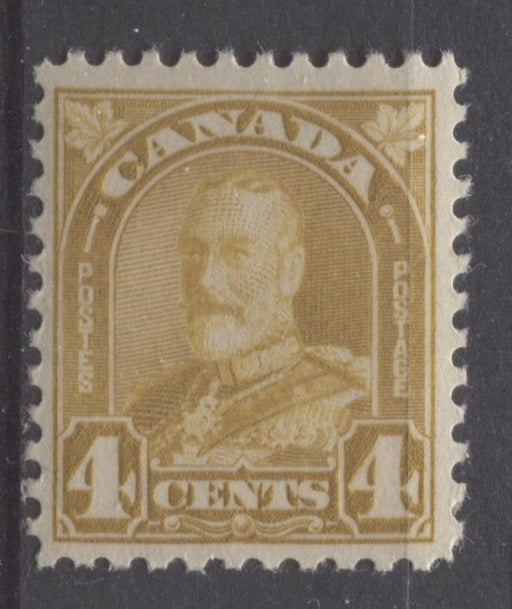 Canada #168 (SG#294) 4c Yellow Bistre King George V 1930-35 Arch Issue Bright Cream Gum VF-75 NH Brixton Chrome
