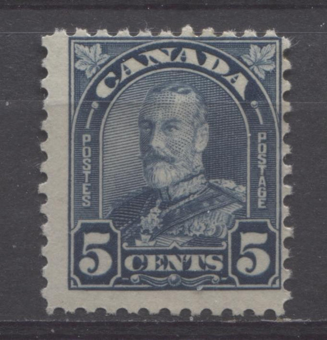 Canada #170i (SG#296a) 5c Light Prussian Blue King George V 1930-35 Arch Issue Deep Cream Gum VG-60 OG Brixton Chrome