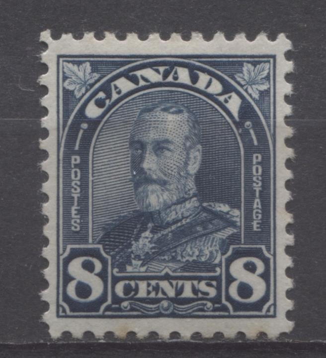Canada #171 (SG#297) 8c Deep Steel Blue King George V 1930-35 Arch Issue Coar Mesh VF-79 LH Brixton Chrome