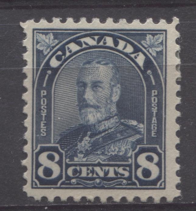Canada #171 (SG#297) 8c Deep Steel Blue King George V 1930-35 Arch Issue Coarse Mesh VF-75 OG Brixton Chrome