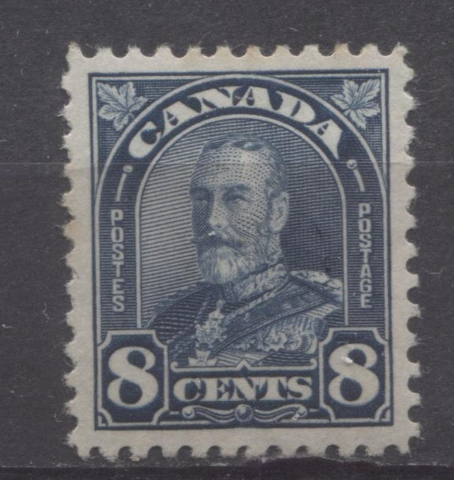 Canada #171 (SG#297) 8c Deep Steel Blue King George V 1930-35 Arch Issue Fine Mesh Paper VF-79 OG Brixton Chrome