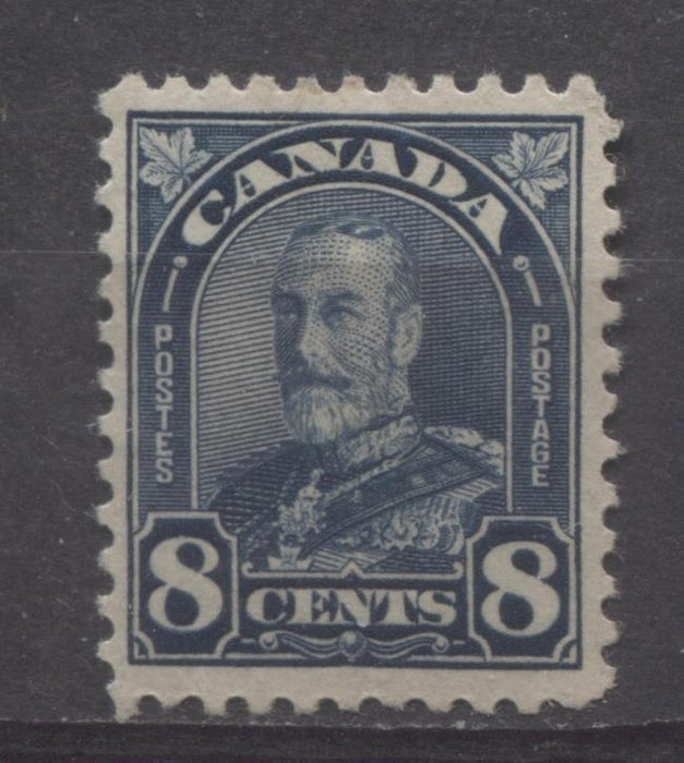 Canada #171 (SG#297) 8c Deep Steel Blue King George V 1930-35 Arch Issue Paper With No Mesh VF-75 OG Brixton Chrome