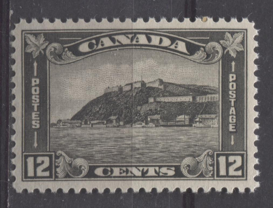 Canada #174 (SG#300) 12c Deep Grey Black Quebec Citadel 1930-35 Arch Issue Coffee Coloured Gum VF-80 LH Brixton Chrome