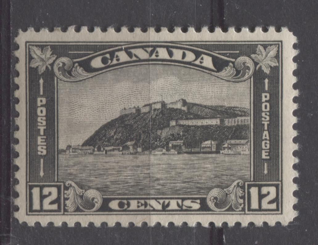 Canada #174 (SG#300) 12c Deep Grey Black Quebec Citadel 1930-35 Arch Issue Deep Cream Gum VF-80 LH Brixton Chrome