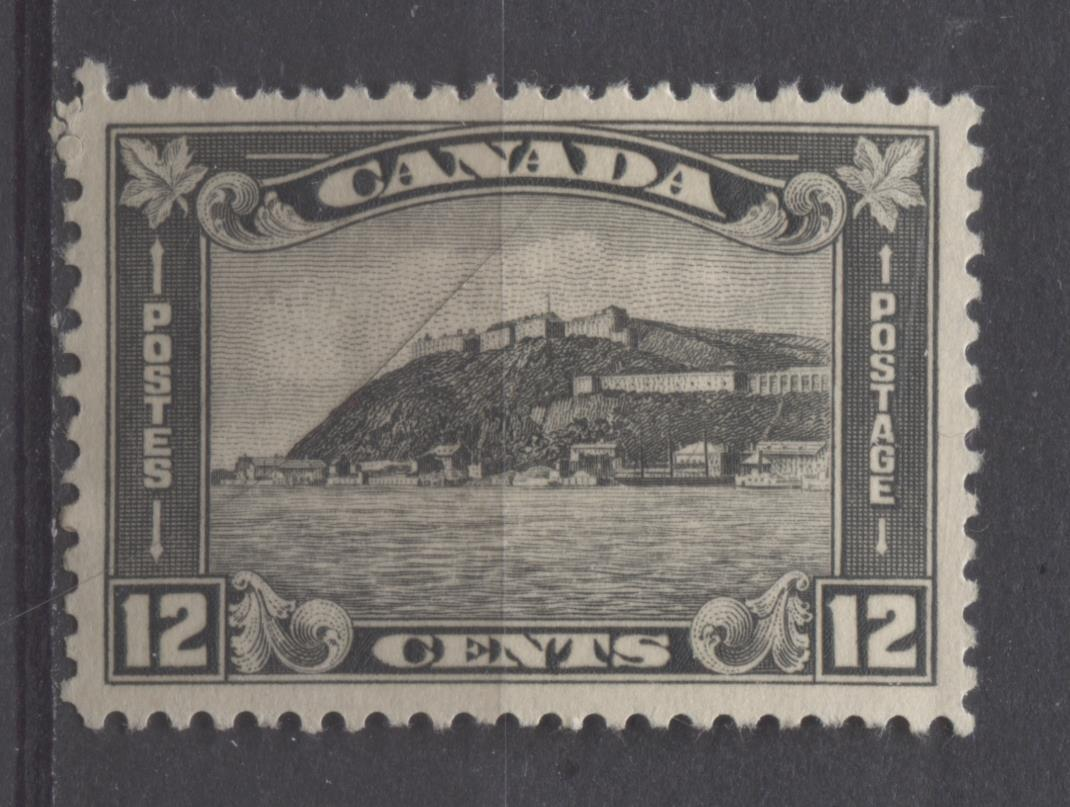 Canada #174 (SG#300) 12c Grey Black Quebec Citadel 1930-35 Arch Issue Coffee Coloured Gum VF-75 OG Brixton Chrome