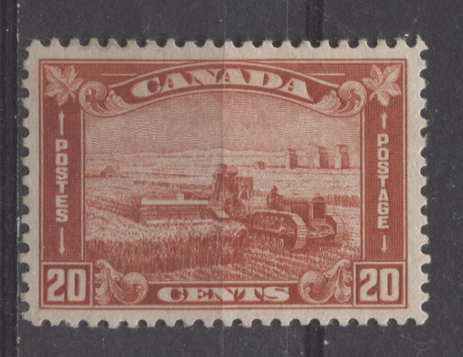 Canada #175 (SG#301) 20c Brownish Vermilion Harvesting Wheat 1930-35 Arch Issue VF-82 OG Brixton Chrome